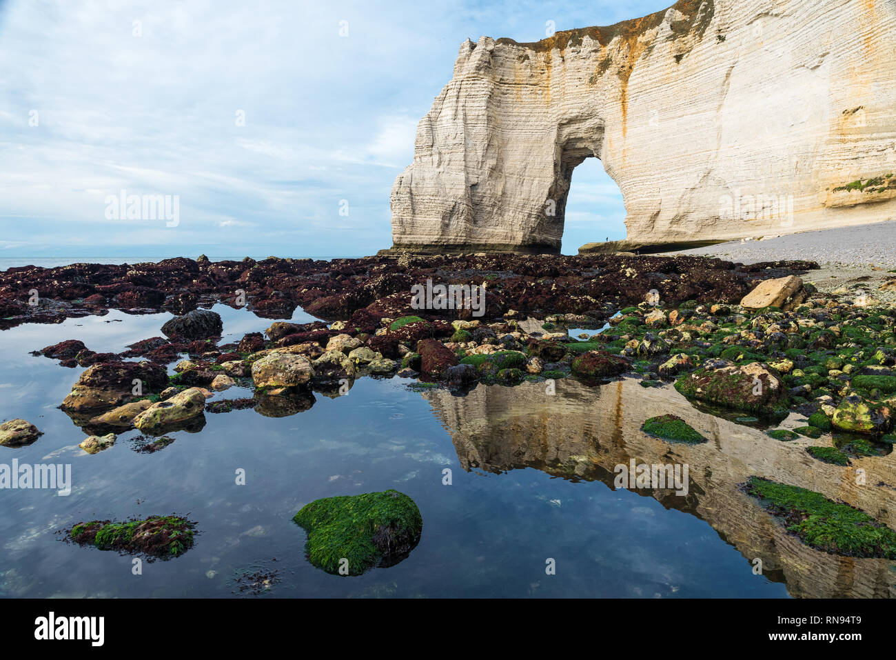 beach in Etretat in low tide with beautiful arch cliff and reflection in the sea, Normandy, North France, Europe - Stock Image