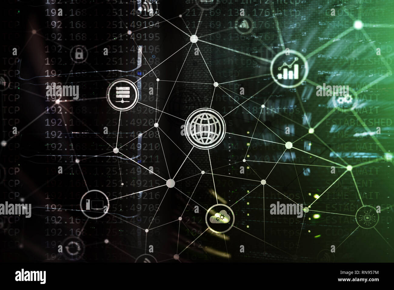 ICT - information and telecommunication technology and IOT - internet of things concepts. Diagrams with icons on server room backgrounds. - Stock Image