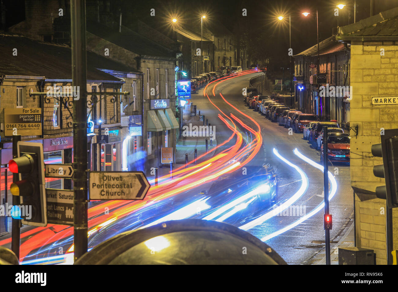 17 February 2019. Ramsbottom, Bury, Lancashire. Picture shows Bolton Street, the road which runs through the centre of the village/ town. The village  - Stock Image