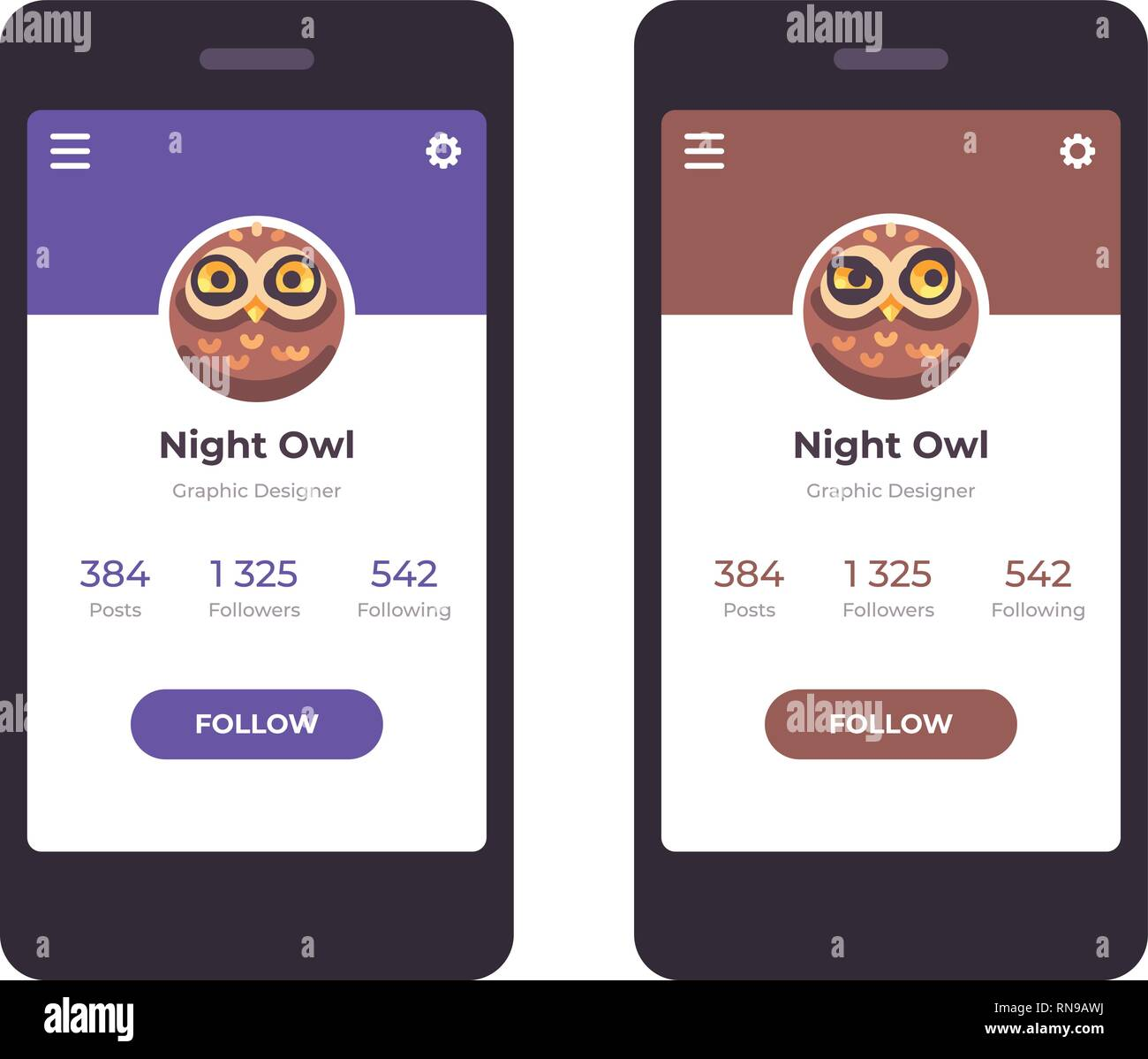 Mobile app interface concept  User profile with an owl