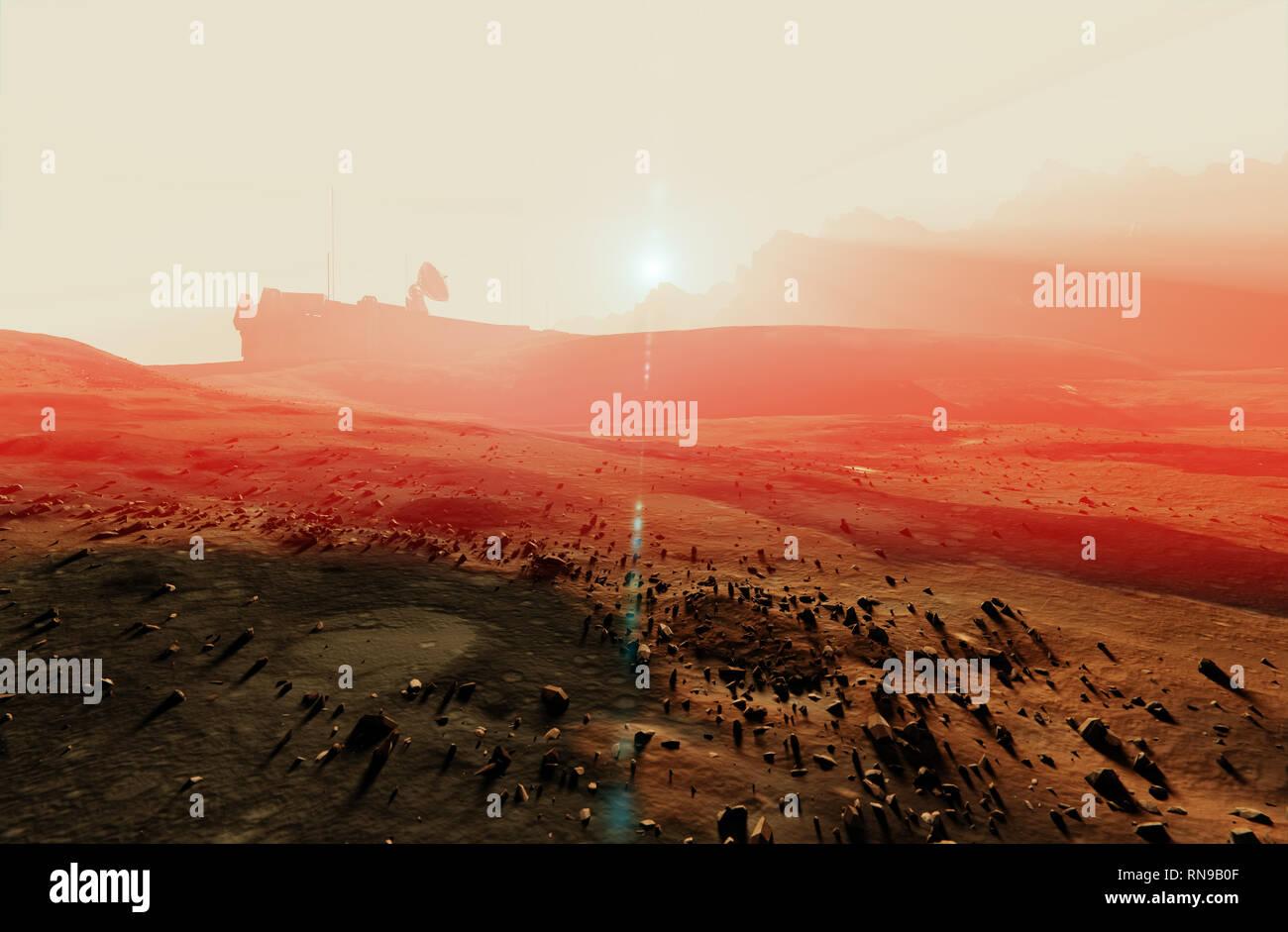 Red planet Mars misty sunset landscape, desert rocks, space base radar dish, 3d illustration Stock Photo