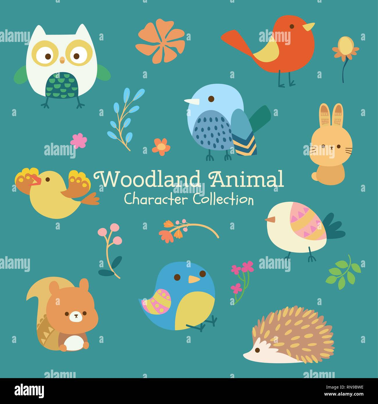 cute character set of woodland animals Stock Vector