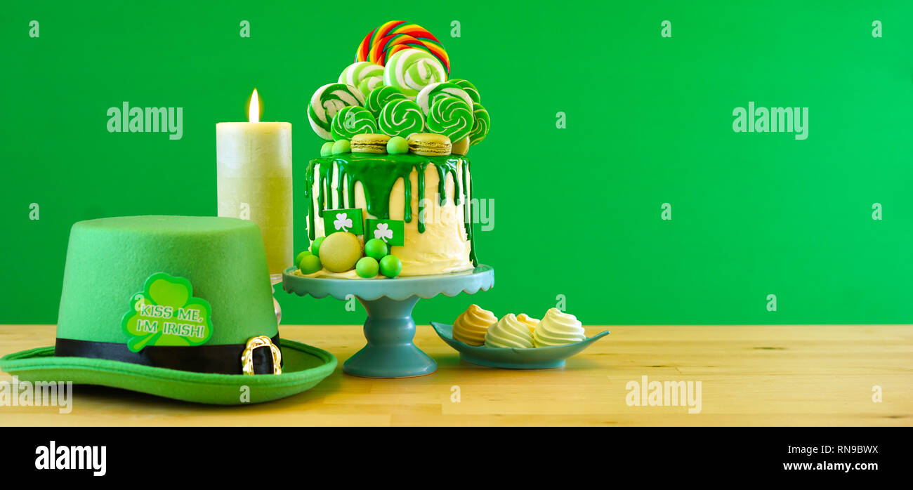 Miraculous St Patricks Day Party Table With Lollipop Candyland Drip Cake On Funny Birthday Cards Online Necthendildamsfinfo