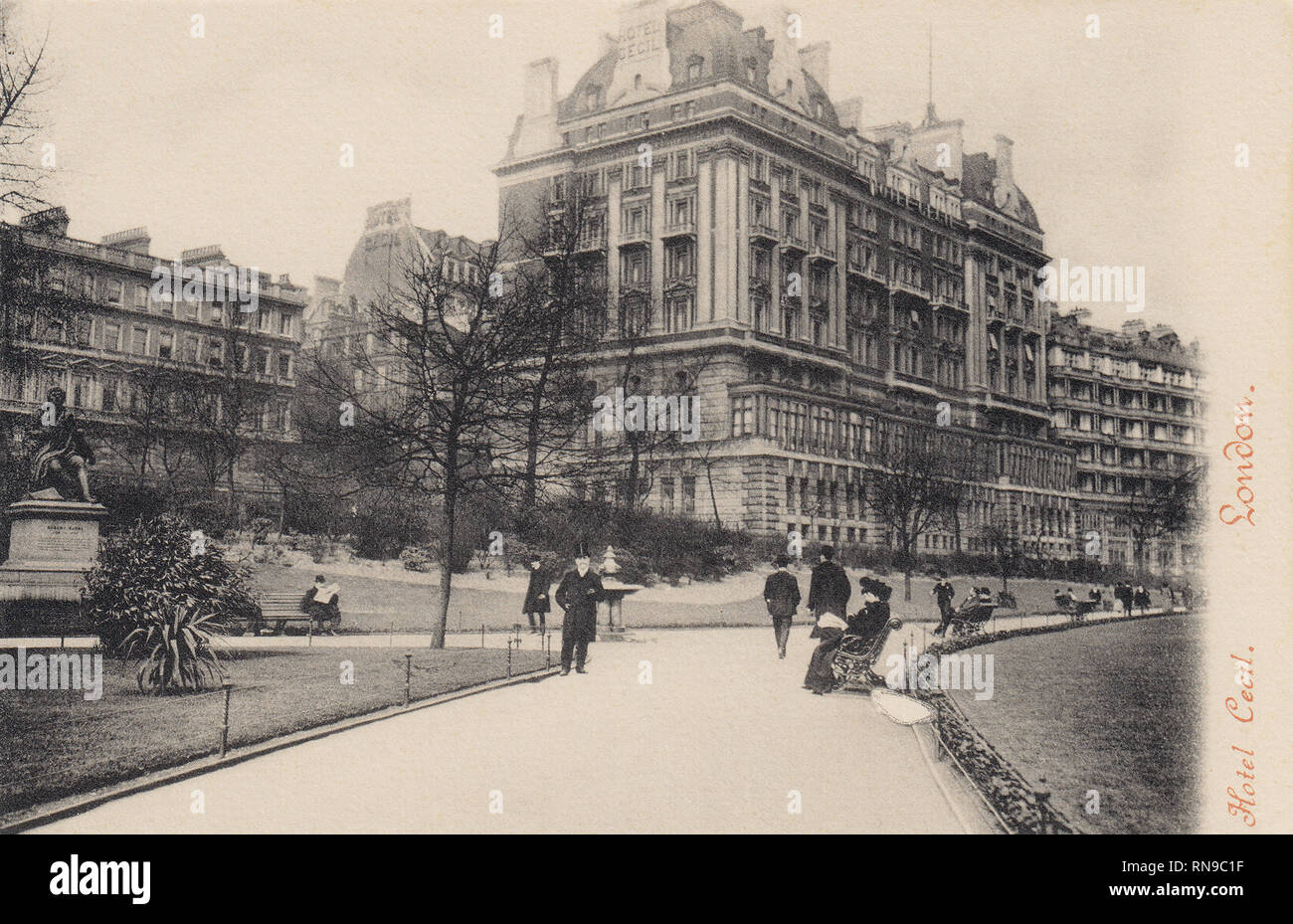 Hotel Cecil & Victoria Embankment Gardens, London, United Kingdom - Stock Image