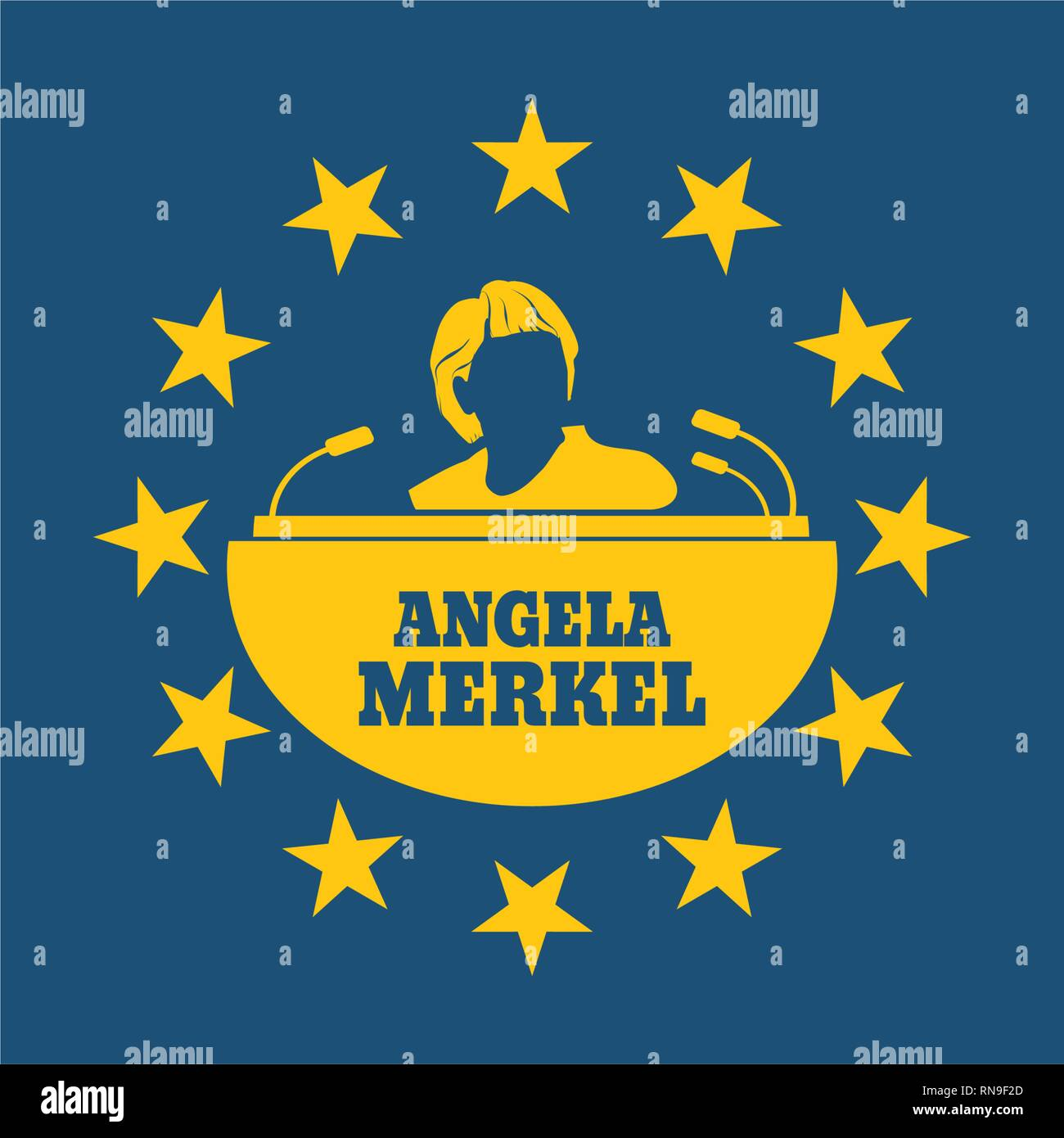 Angela Merkel simple portrait - Stock Vector