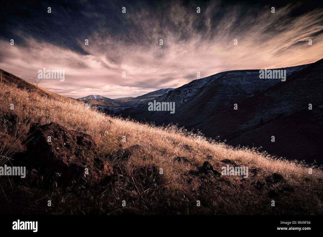 High Contrast Landscape of Hills and Valleys - Stock Image