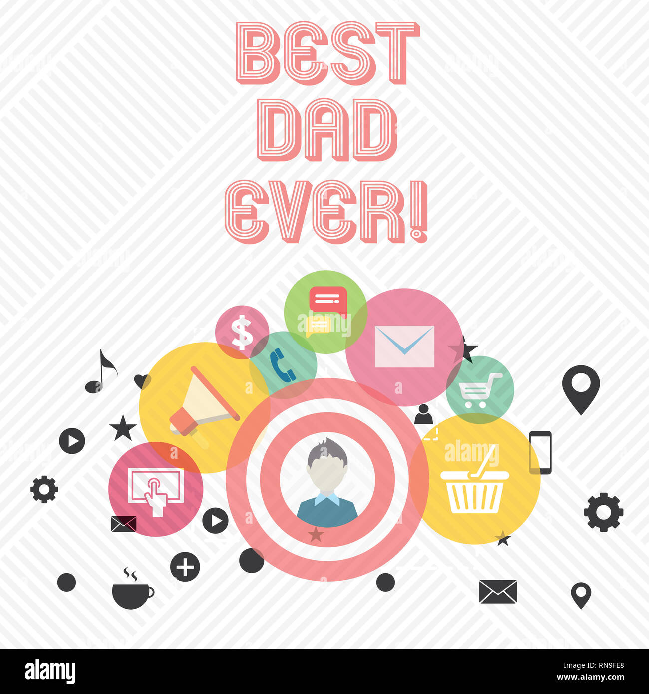 Conceptual hand writing showing Best Dad Ever. Business photo showcasing Appreciation for your father love feelings compliment - Stock Image