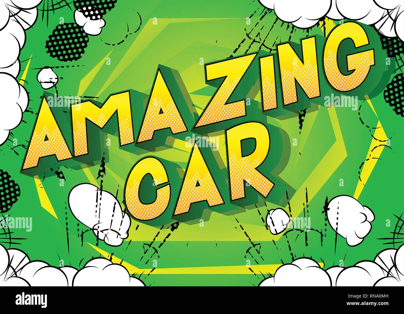 Amazing Car - Vector illustrated comic book style phrase on abstract background. - Stock Image