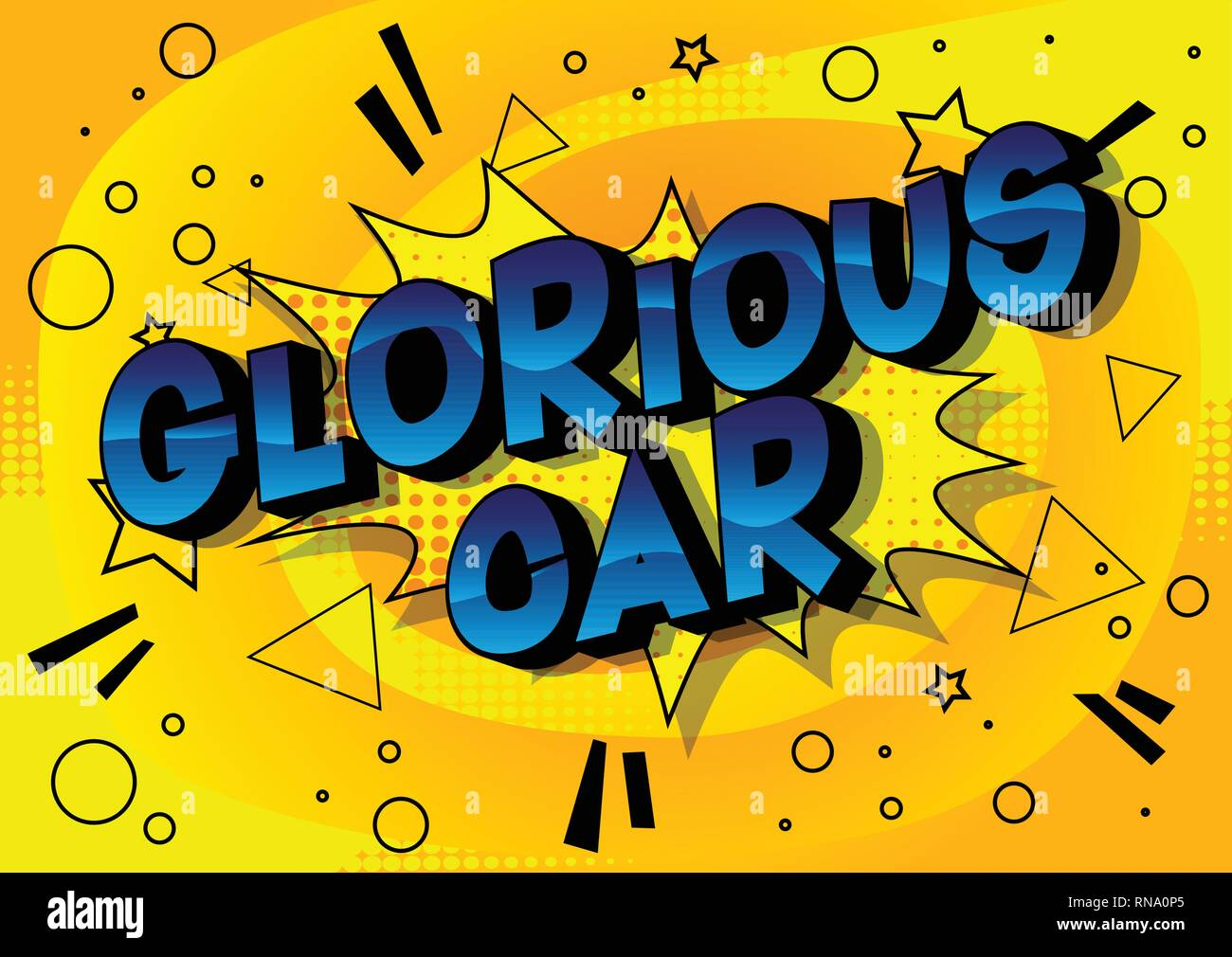 Glorious Car - Vector illustrated comic book style phrase on abstract background. - Stock Image