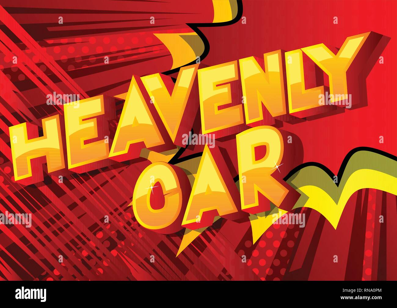 Heavenly Car - Vector illustrated comic book style phrase on abstract background. - Stock Image