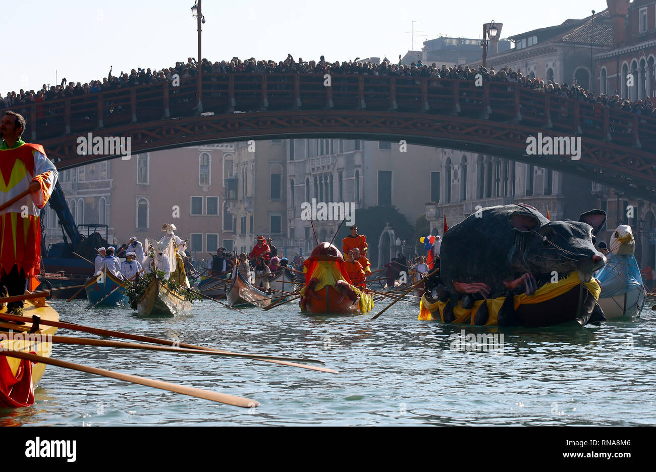 The party of all the Venetians who inaugurates the Carnival, dedicated to citizens and guests of the lagoon city, this year doubles with a double appointment on the foundations of Cannaregio. Sunday, February 17 at 11.00 the water procession of the Coordination Associations Rowing Vogue to the Venetian will drop the moorings from Punta della Dogana along the Grand Canal until you reach the popular Rio di Cannaregio, where it will parade in a blaze of crowded audience on the banks. Upon arrival of the masked marching boats, the eno-gastronomic stands will be opened by AEPE, which will offer the Stock Photo