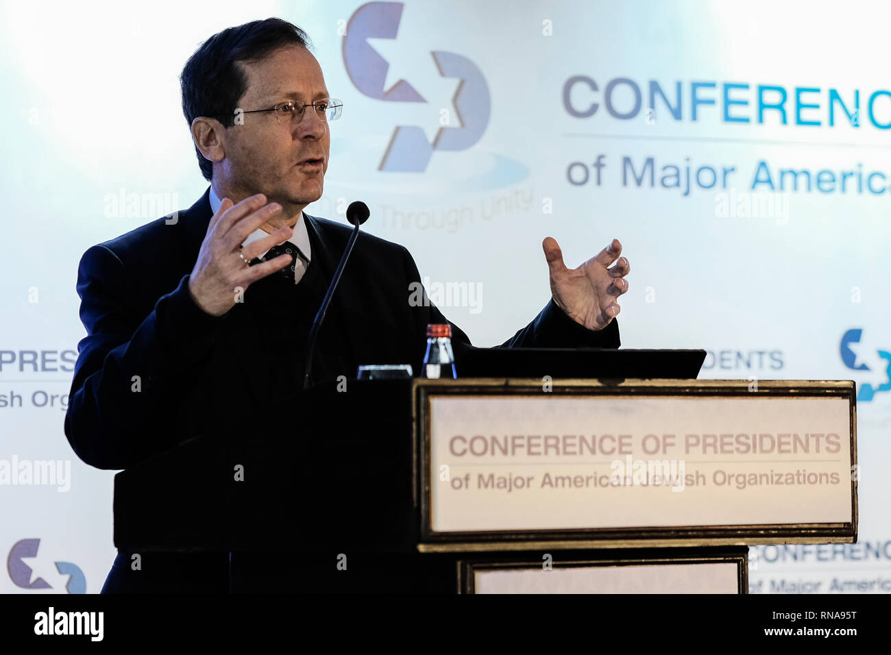 Jerusalem, Israel. 18th February, 2019. ISAAC HERZOG, 'Bougie', Chairman of the Jewish Agency, former Member of Knesset former Minister of Welfare and Social Services, former chairman of the Labor Party and opposition leader, speaks at the  45th Conference of Presidents of Major American Jewish Organizations Leadership Mission to Israel (COP) at the Inbal Hotel in Jerusalem. More than 100 American leaders from the Conference's 53 member organizations and its National Leadership Council participate. Credit: Nir Alon/Alamy Live News - Stock Image