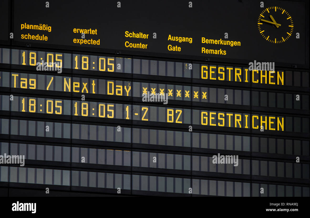Laage, Germany. 18th Feb, 2019. On the display board in the departure hall of the airport Rostock-Laage the only scheduled flight of the day is shown as 'cancelled'. Following the insolvency of the British regional airline Flybmi and the holiday airline Germania, the airport's shareholders are discussing the economic situation. For the airport Rostock-Laage the Flybmi flights to Munich were the last regular connections. Credit: Jens Büttner/dpa-Zentralbild/dpa/Alamy Live News - Stock Image