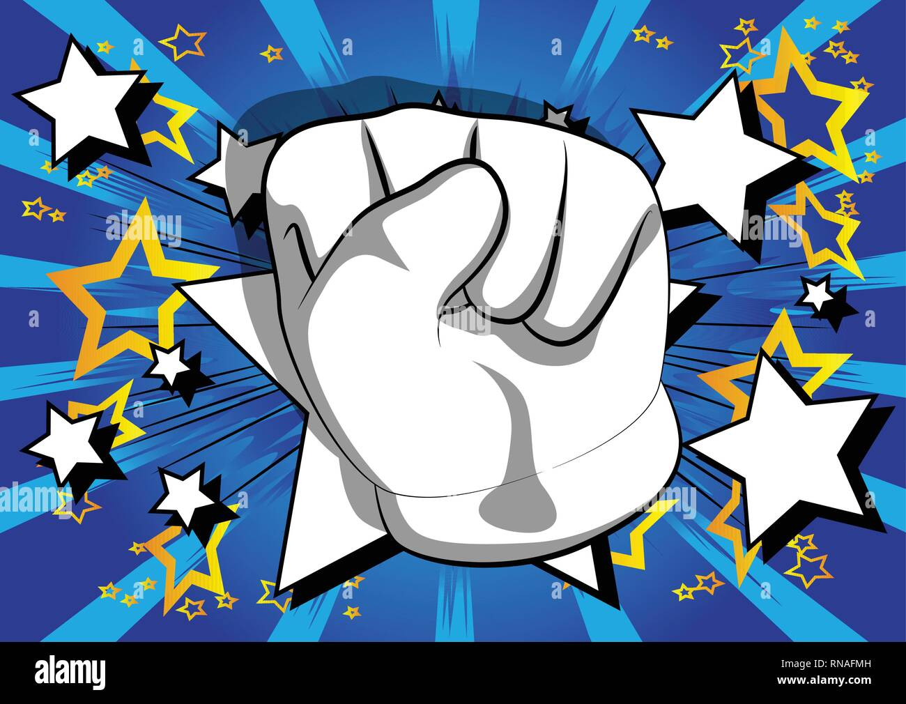 Vector cartoon hand making power to the people fist gesture. Illustrated hand sign on comic book background. Stock Vector