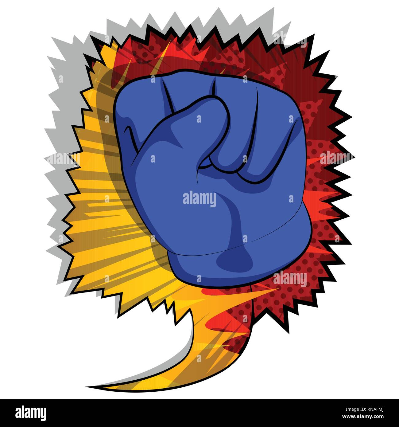 Vector cartoon hand making power to the people fist gesture. Illustrated hand sign on comic book background. - Stock Vector