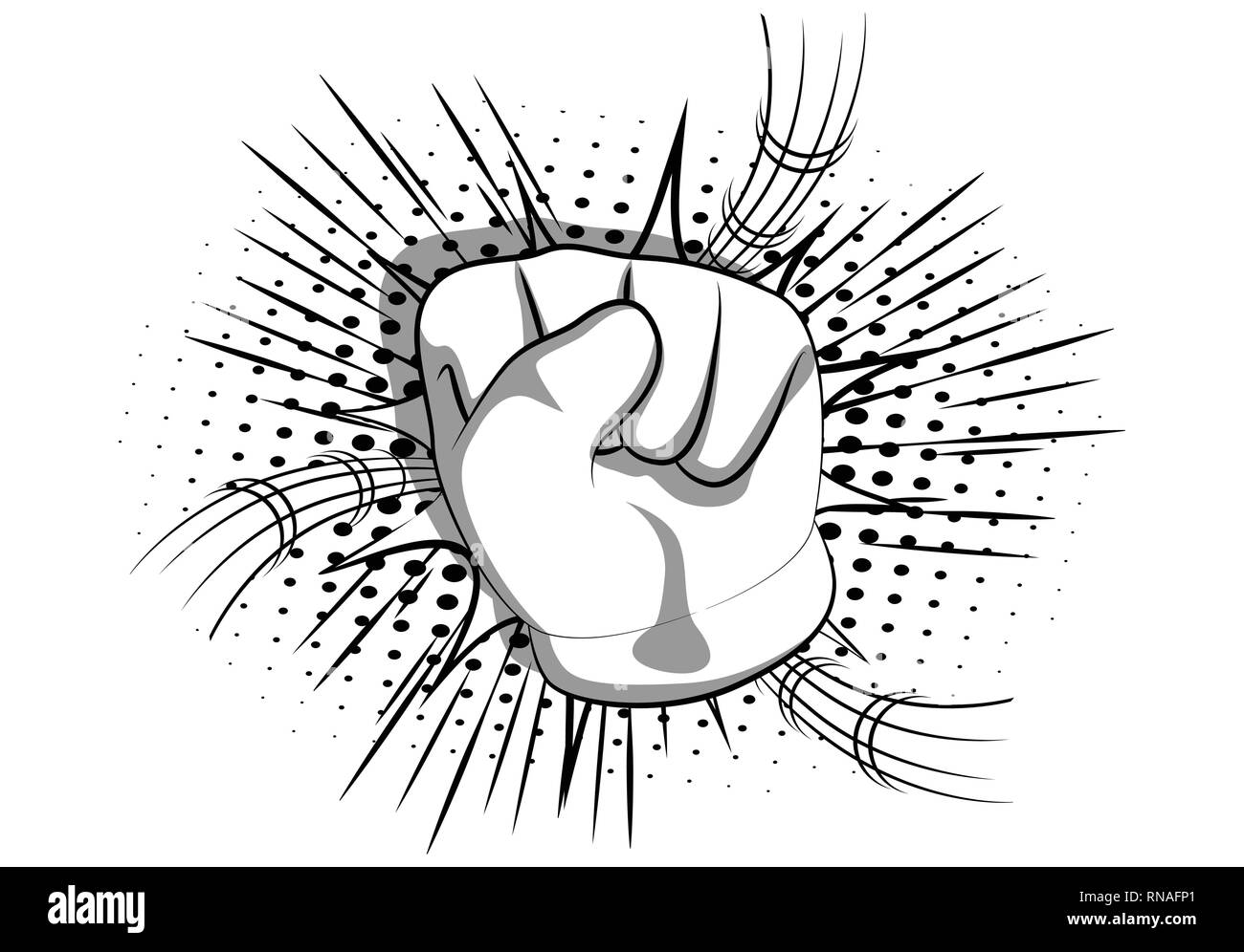 Vector cartoon hand making power to the people fist gesture. Illustrated hand sign on comic book background. - Stock Image