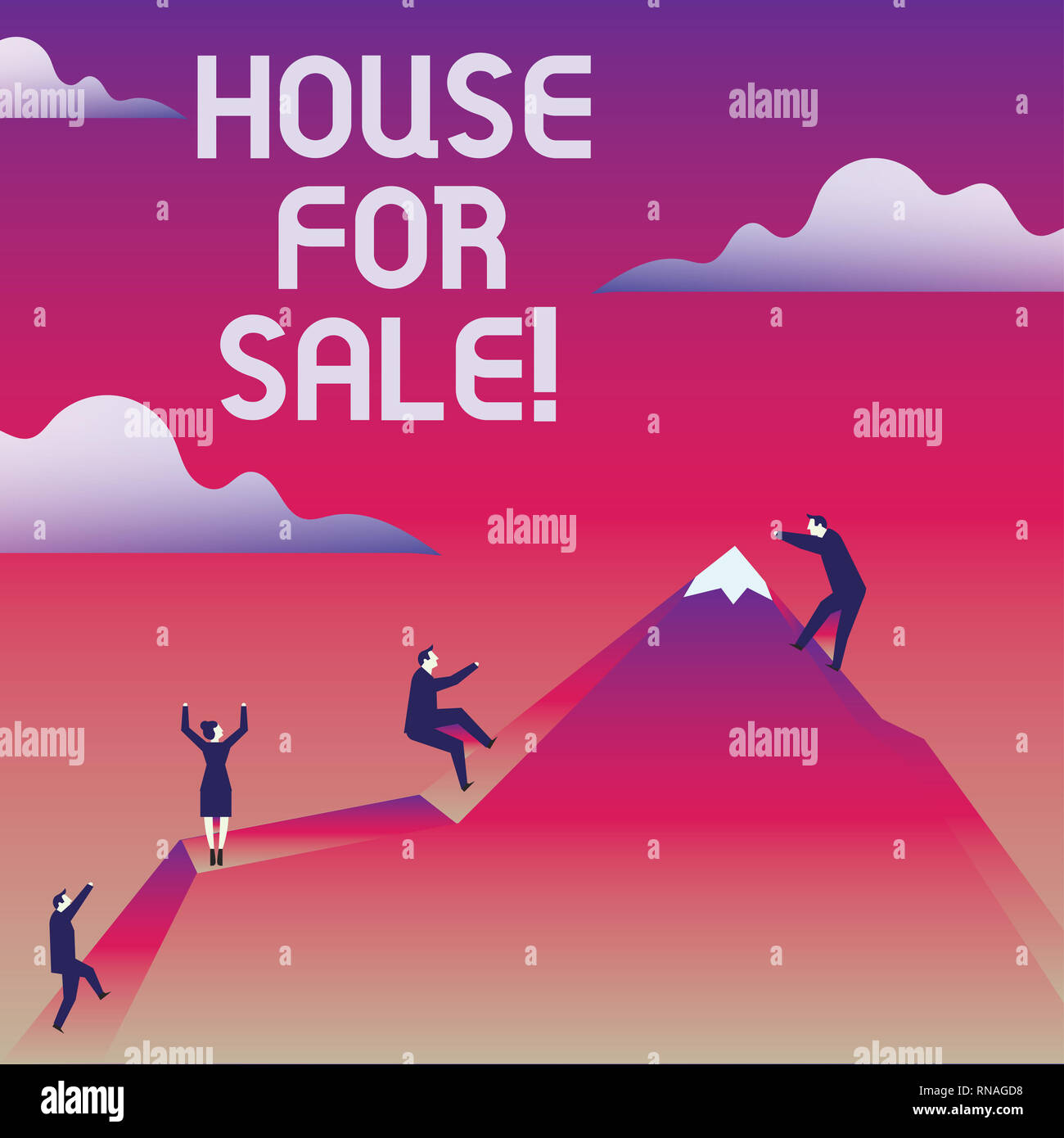 Writing note showing House For Sale. Business photo showcasing Real estate property available to purchase opportunity - Stock Image
