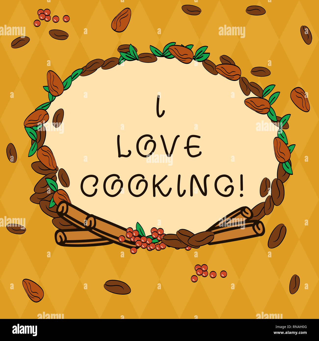 Handwriting Text I Love Cooking Concept Meaning Having Affection For Culinary Arts Prepare Foods And Desserts Wreath Made Of Different Color Seeds Le Stock Photo Alamy