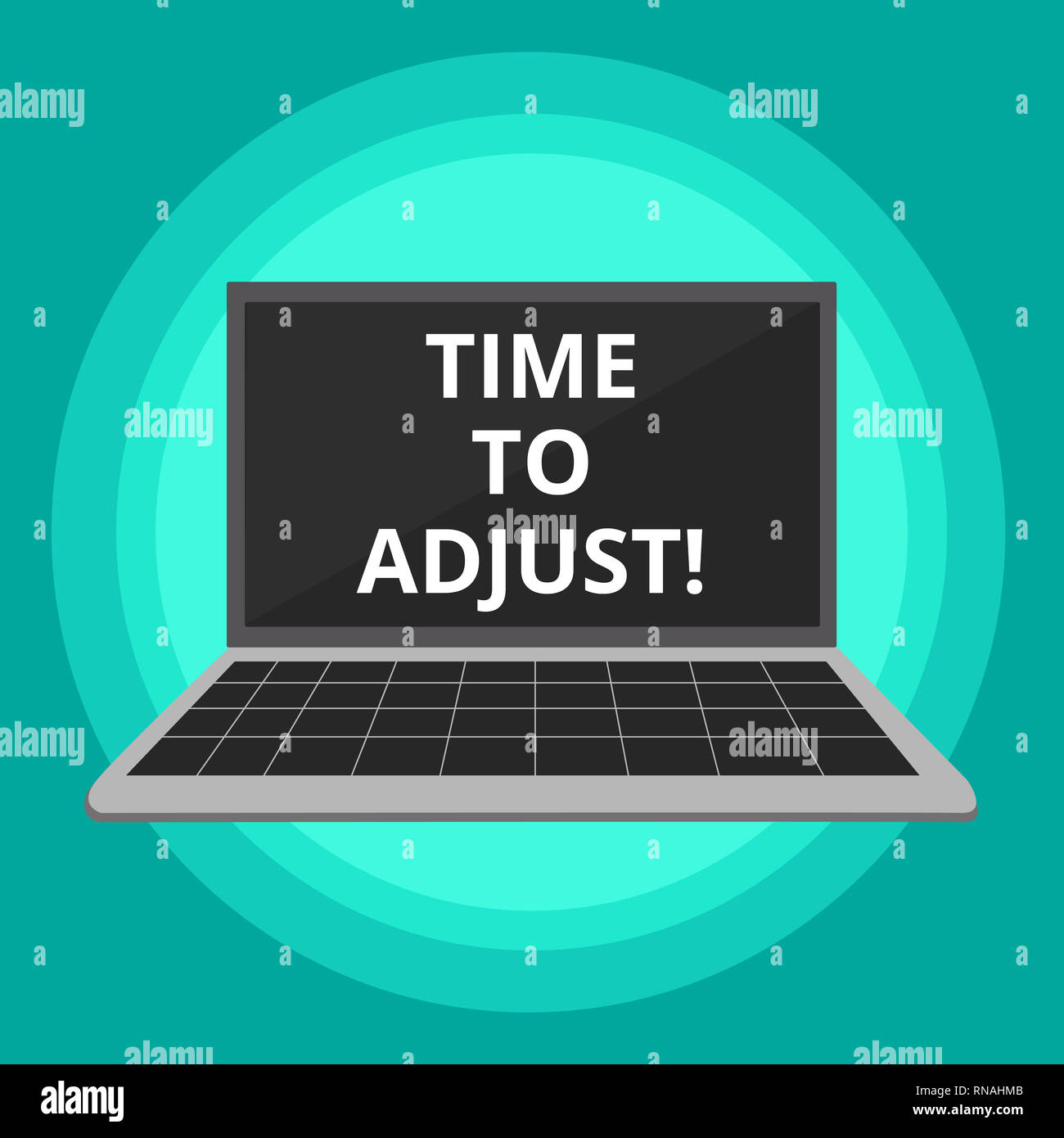Word writing text Time To Adjust. Business concept for Right moment for making adjustments to keep going forward - Stock Image
