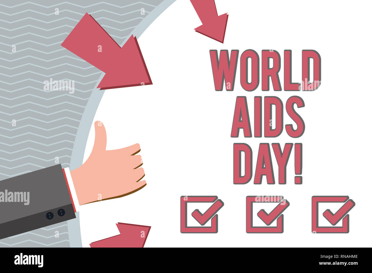Conceptual hand writing showing World Aids Day. Business photo showcasing 1st December dedicated to raising awareness of the AIDS - Stock Image