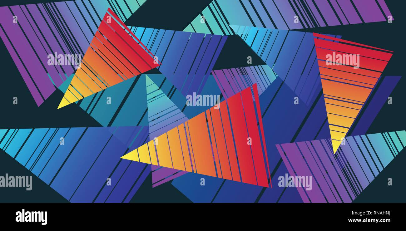 colorful triangles eighties background. Pop art retro vector illustration vintage kitsch - Stock Vector