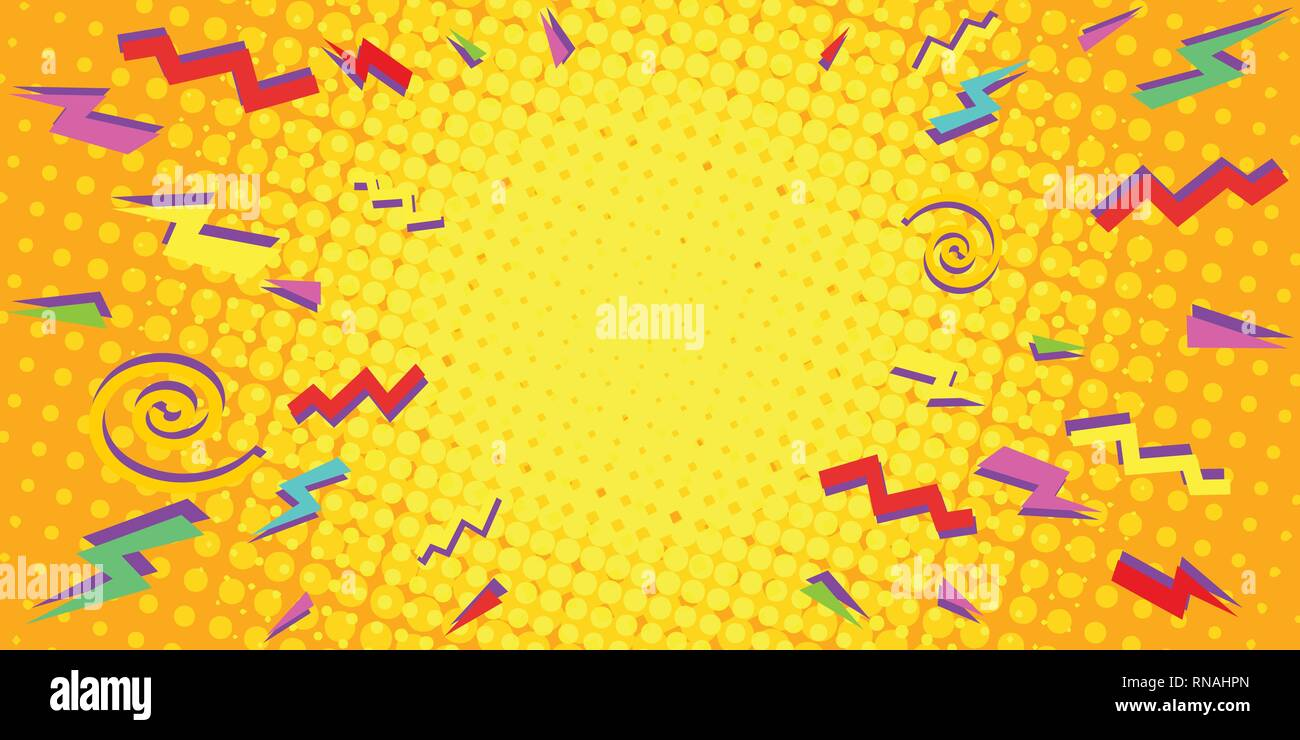 yellow eighties background Pop art retro vector illustration vintage kitsch - Stock Vector