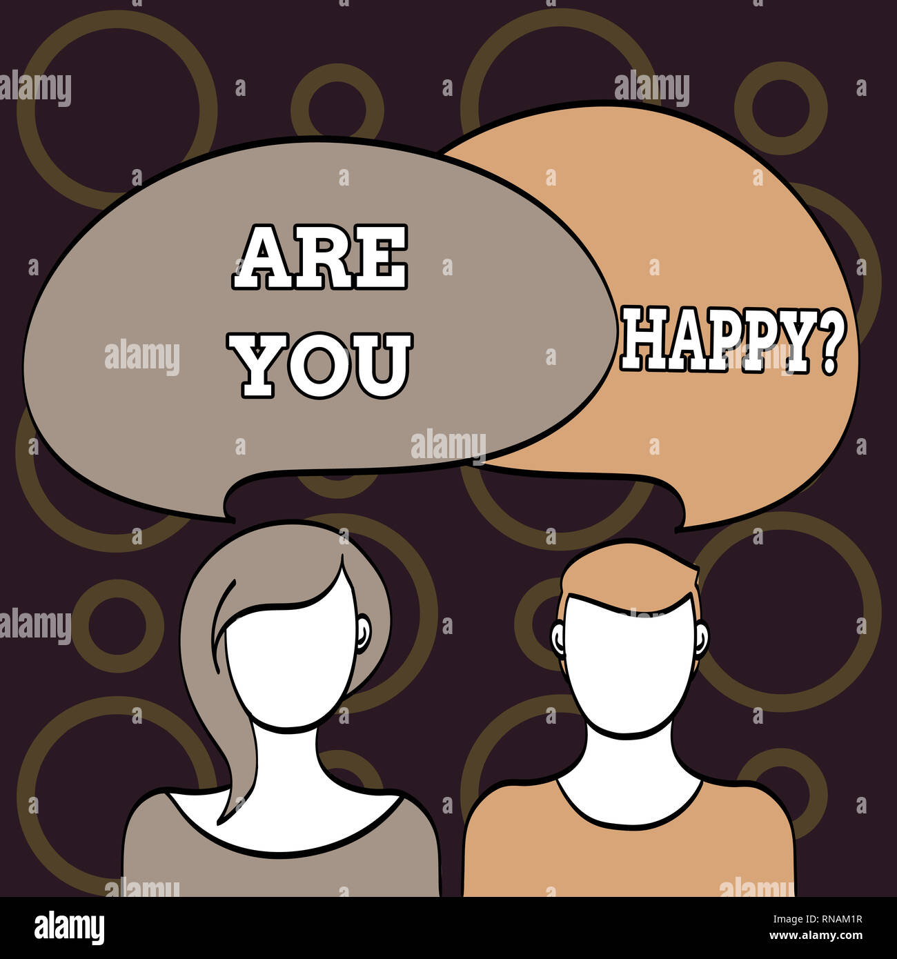 Text sign showing Are You Happy. Conceptual photo Asking if you are fulfilled in your life enjoying moments - Stock Image