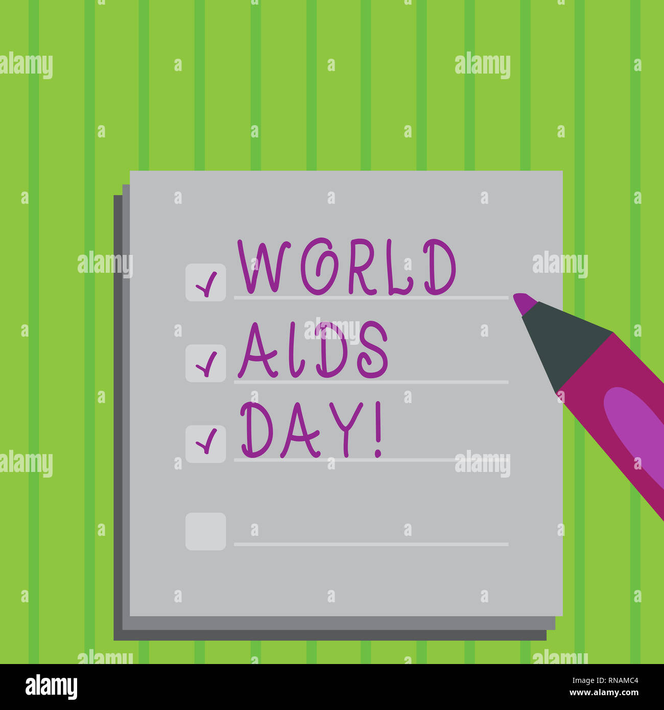Conceptual hand writing showing World Aids Day. Business photo text 1st December dedicated to raising awareness of the AIDS - Stock Image
