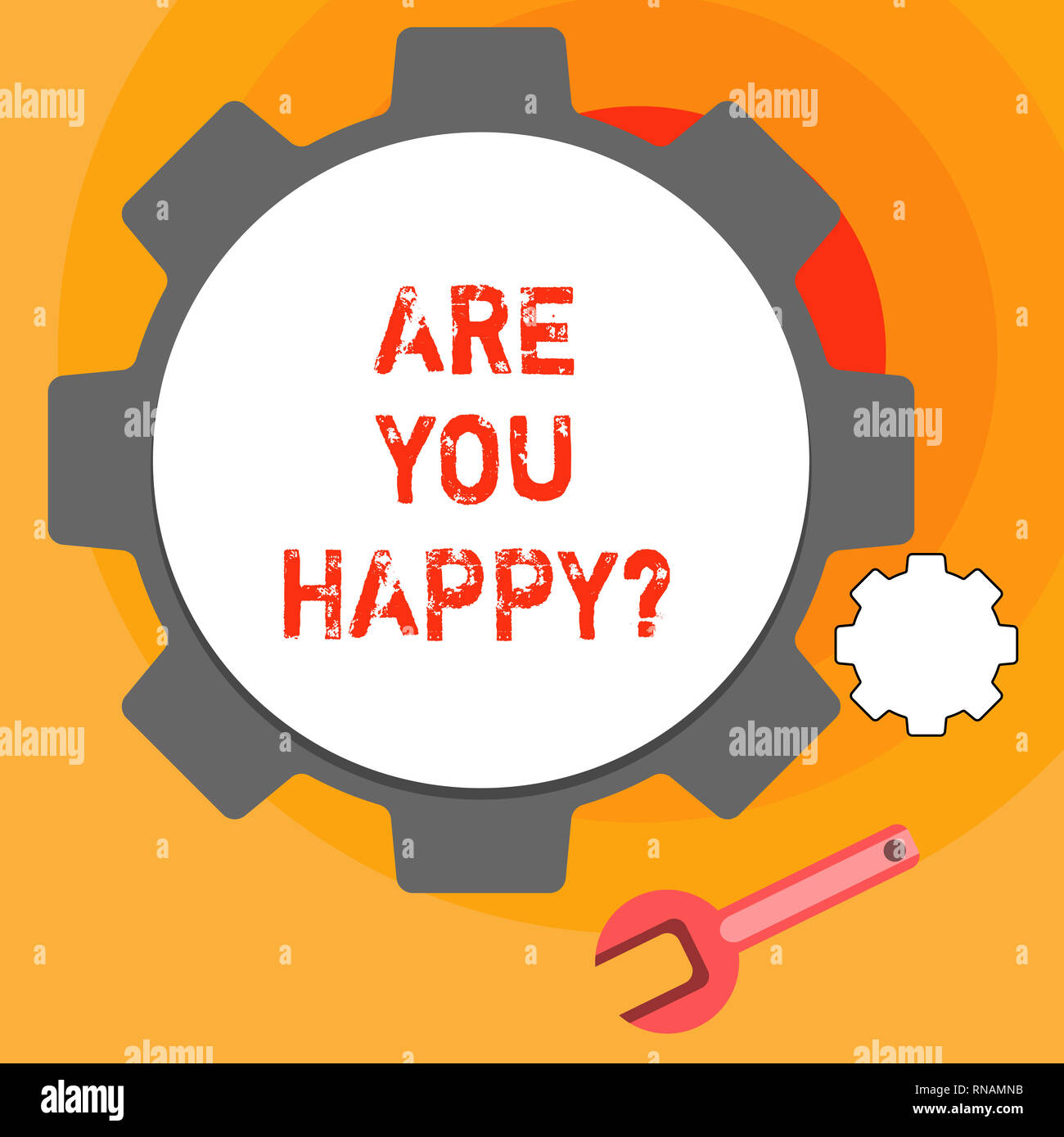 Word writing text Are You Happy. Business concept for Asking if you are fulfilled in your life enjoying moments - Stock Image