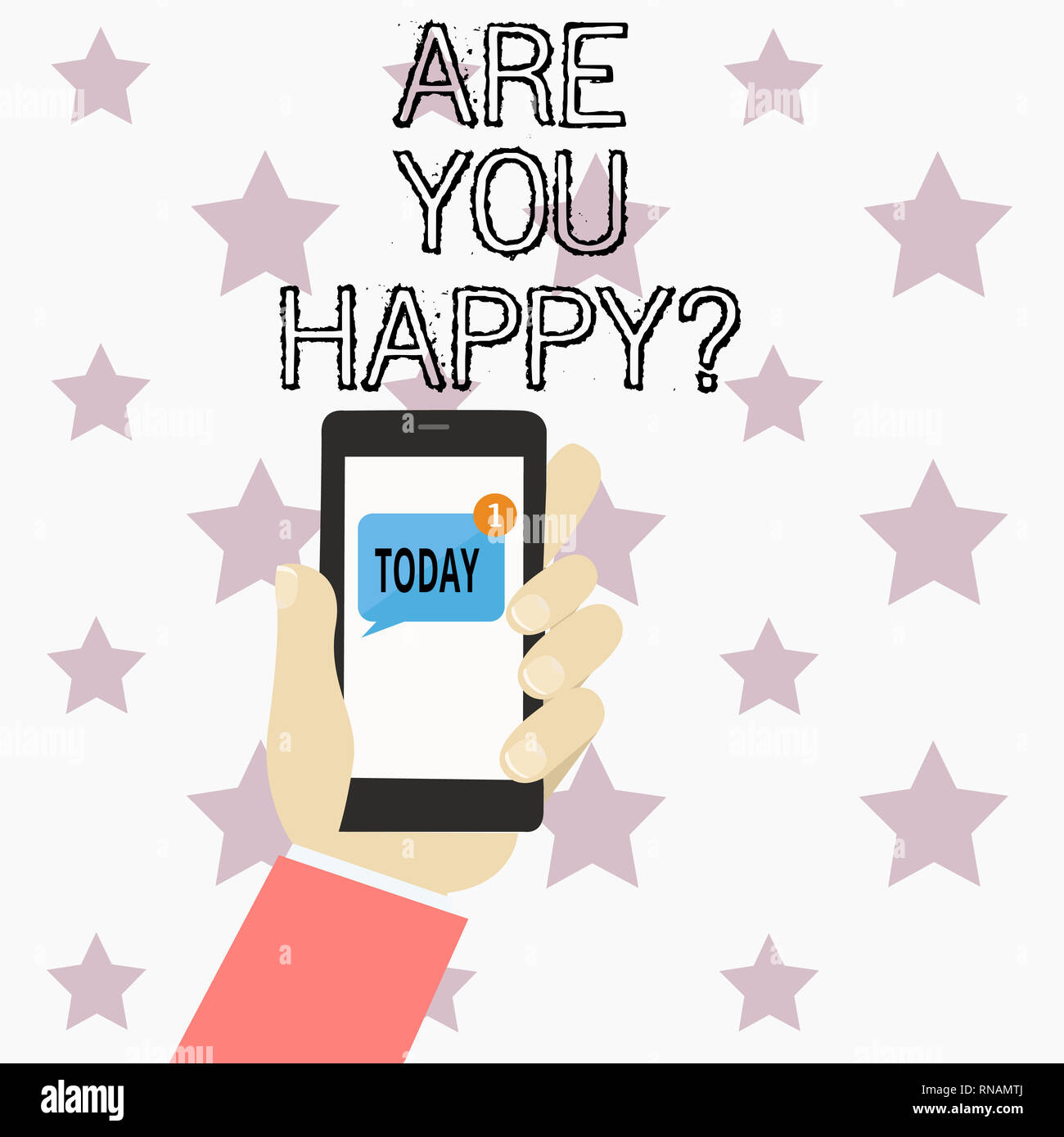 Handwriting text writing Are You Happy. Concept meaning Asking if you are fulfilled in your life enjoying moments - Stock Image