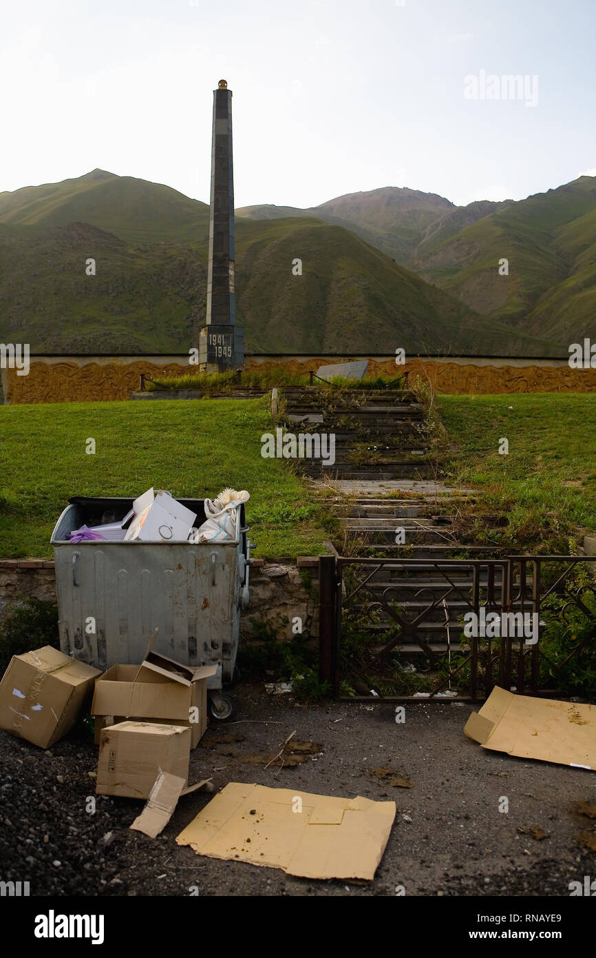 A desecrated monument to Soviet soldiers near the village of Vardisubani. Georgia. - Stock Image