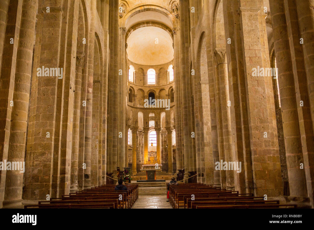 The Abbey Church of Conques France. - Stock Image