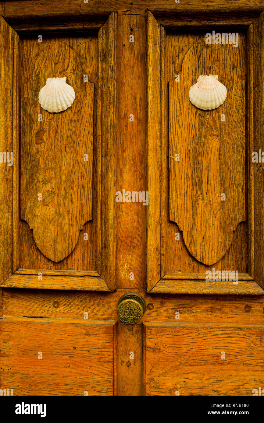 A door in Conques France - Stock Image
