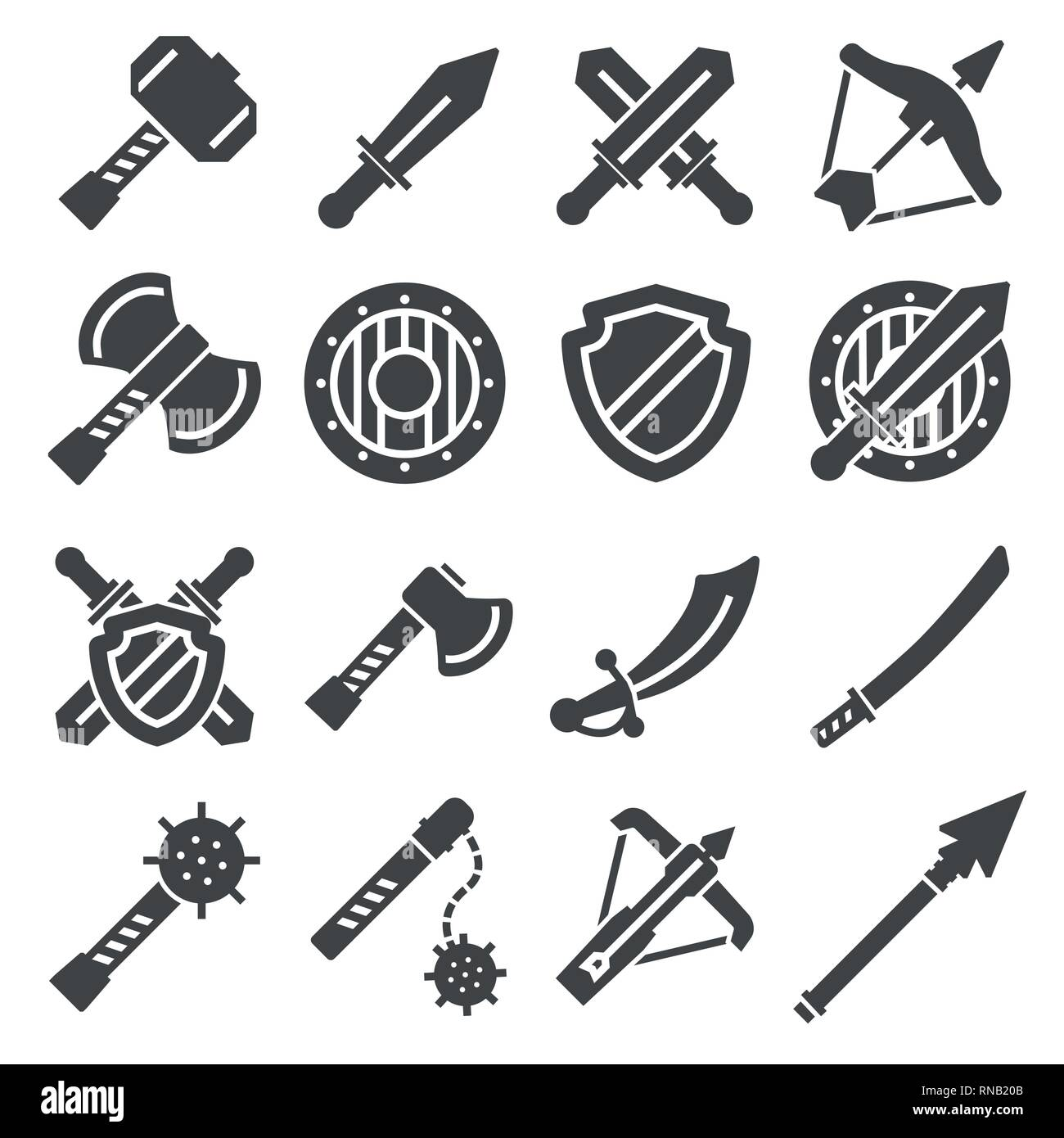 Medieval weapons and armors set. Medieval warrior equipment. Sword, sabre, dagger, axe, male and more - Stock Vector