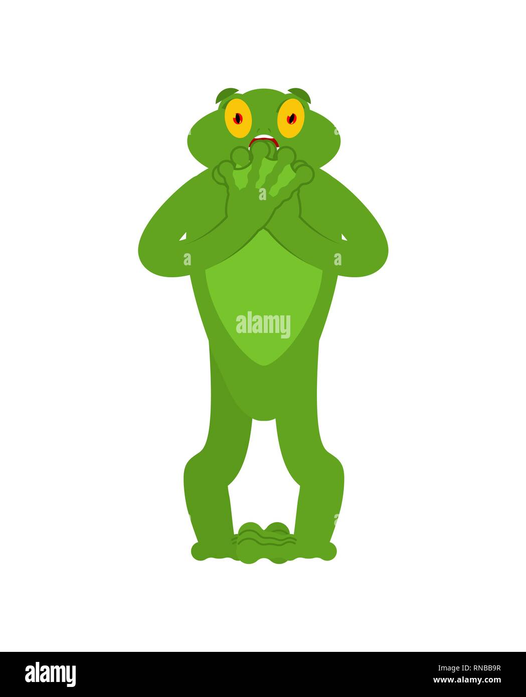 Frog scared OMG emotion. Toad Oh my God emoji. Frightened Anuran. Vector illustration Stock Vector