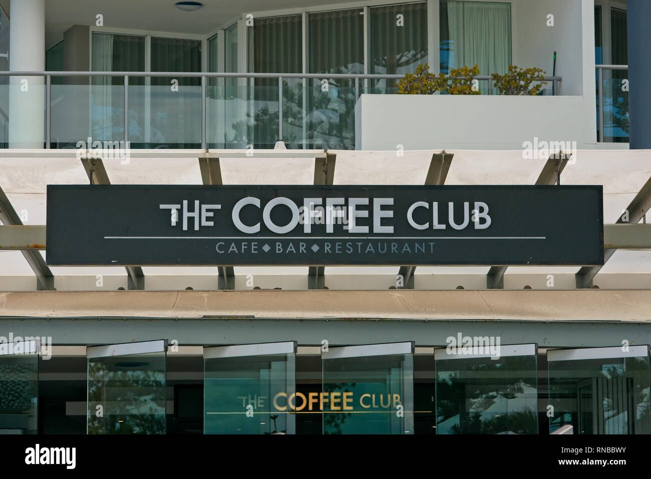 Caloundra,Qld, Australia - February 18, 2019: The Coffee Club sign on a modern building - Stock Image