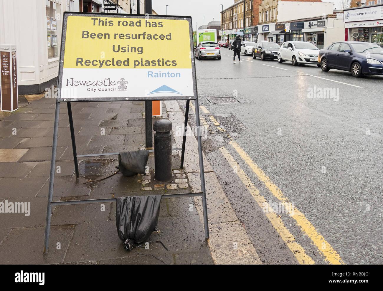 Plastics used to resurface UK roads. - Stock Image