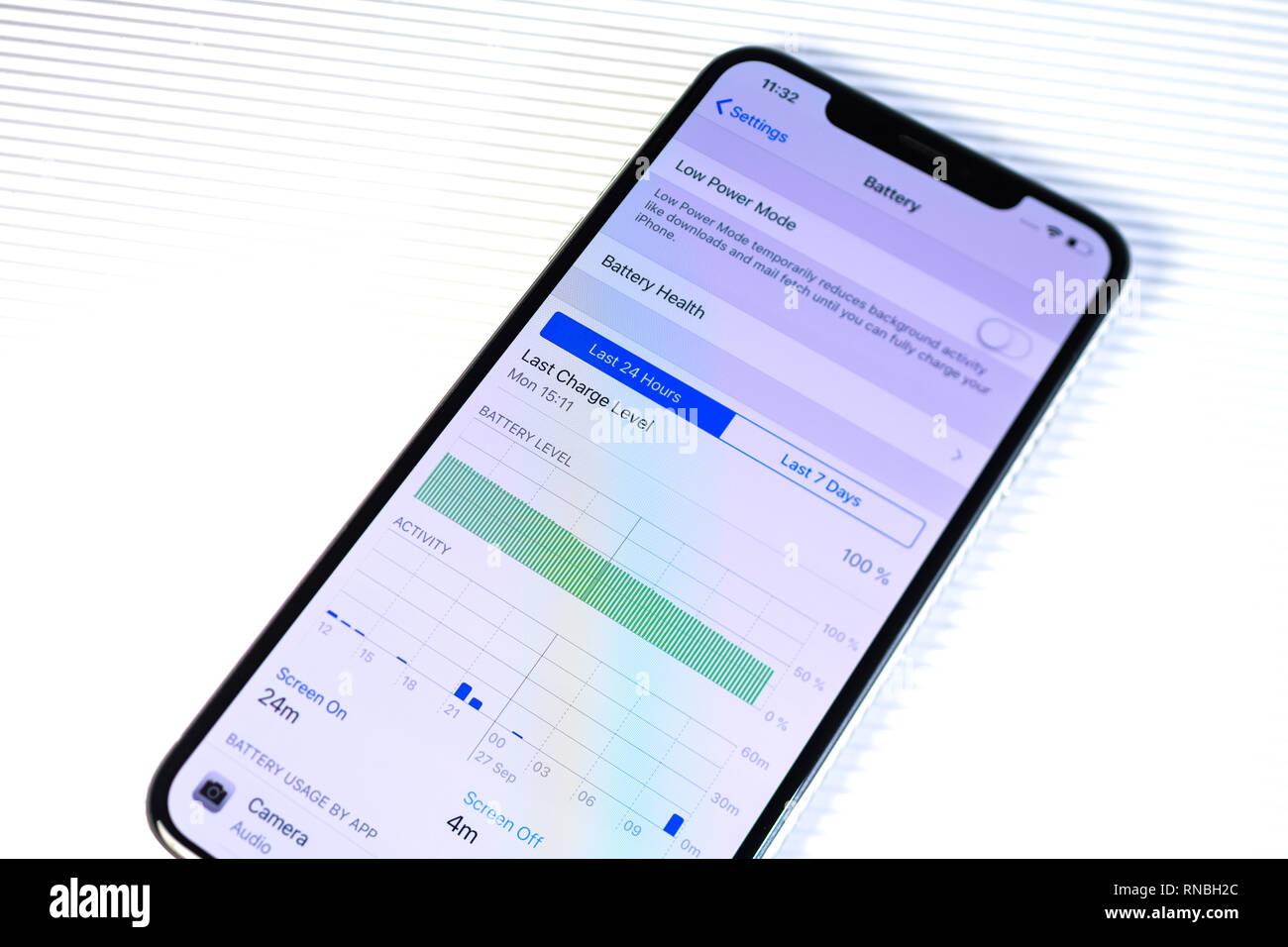 PARIS, FRANCE - SEP 27, 2018: new iPhone Xs Max smartphone