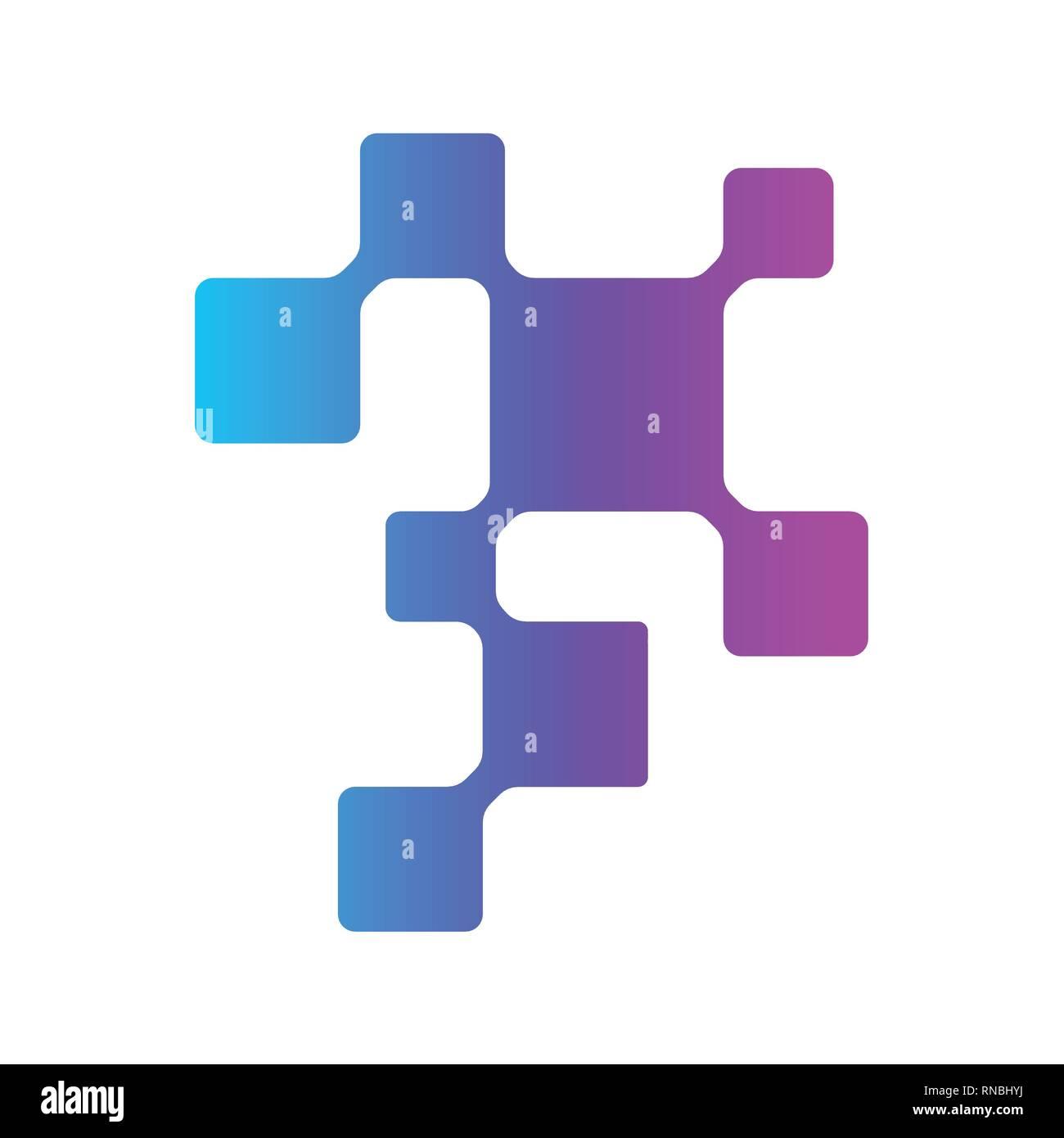 Digital technology, digital DNA, molecula logo. Logo template for medicine, science, laboratory. Mockup symbol for corporate branding identity Stock Vector
