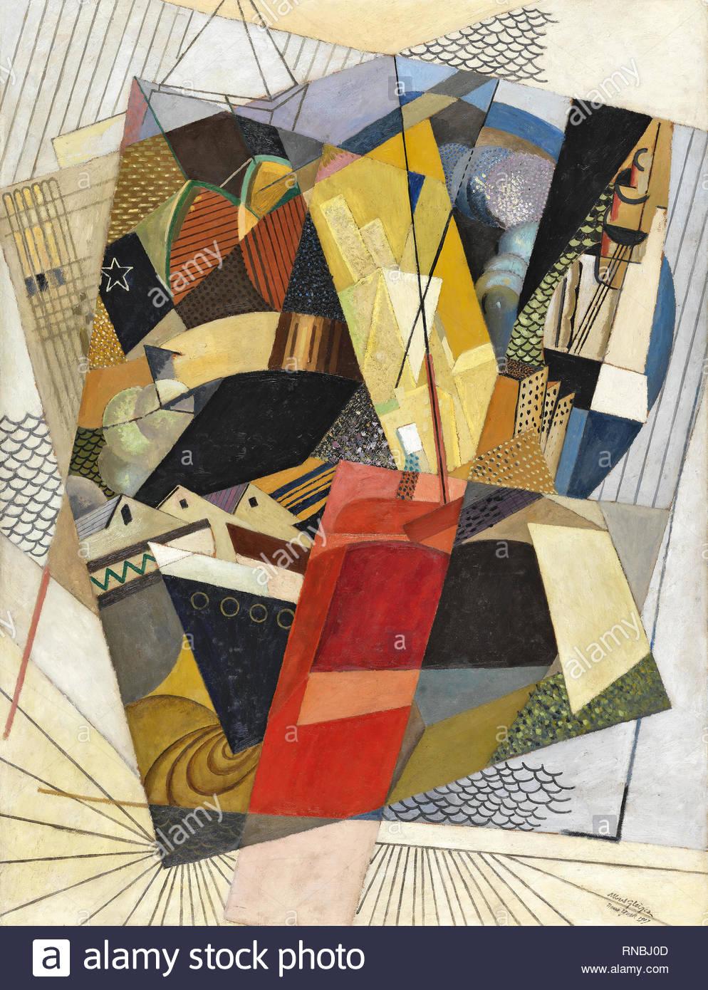 Albert Gleizes (Paris, 1881-Avignon, 1953). In Port (1917). Oil and sand on cardboard. 153 x 120 cm. Museum: Museo Nacional Thyssen-Bornemisza, Madrid. - Stock Image