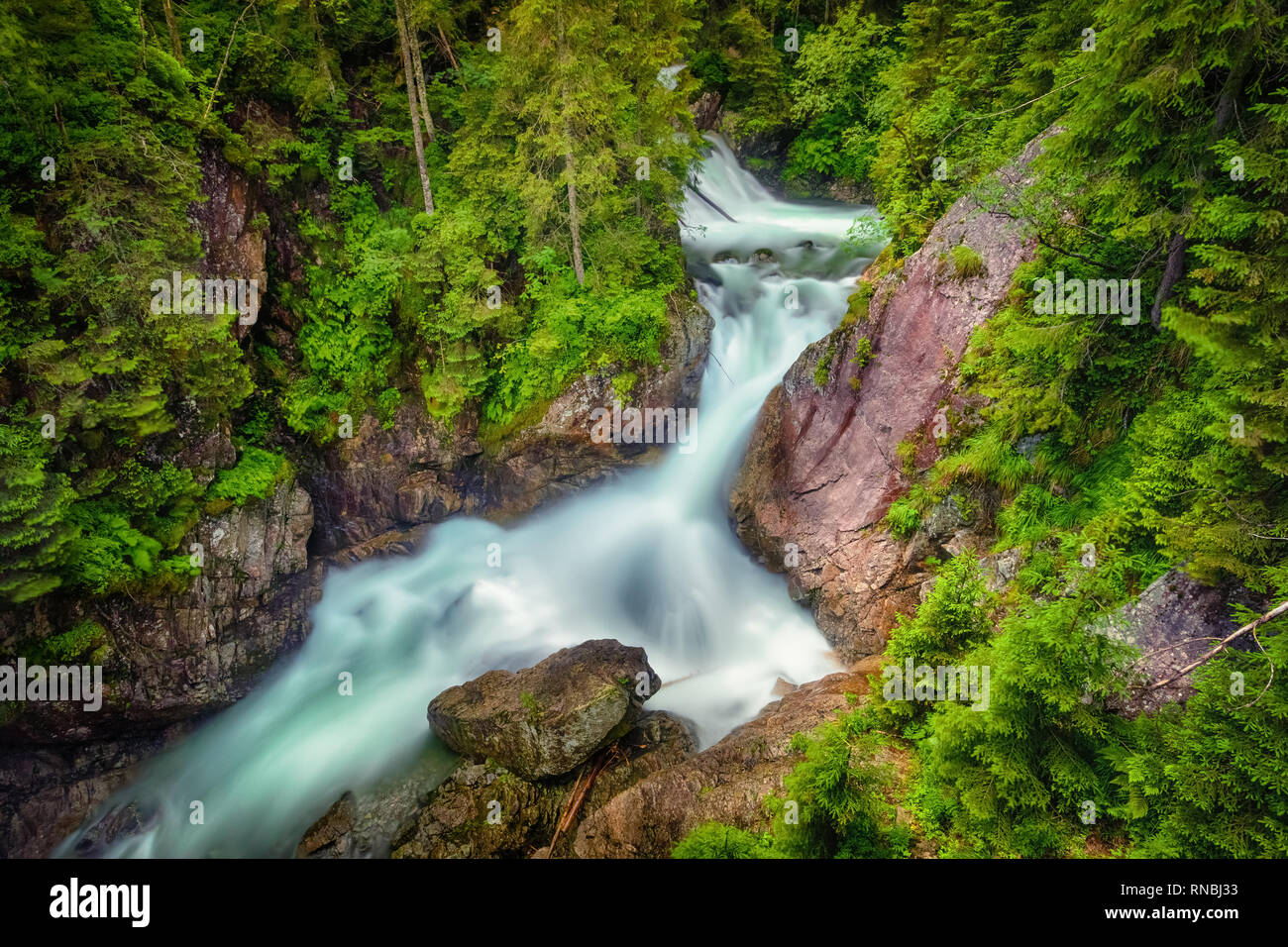 Mickiewicz Waterfalls - waterfalls in the High Tatras on the Roztoka stream, Lesser Poland - Stock Image