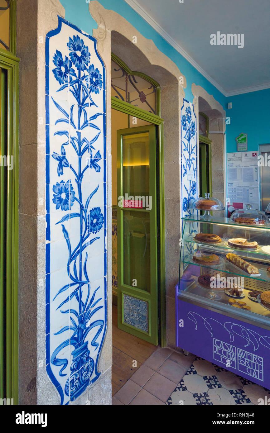 azulejo panels inside the Art Nouveau Museum Aveiro, Portugal - Stock Image