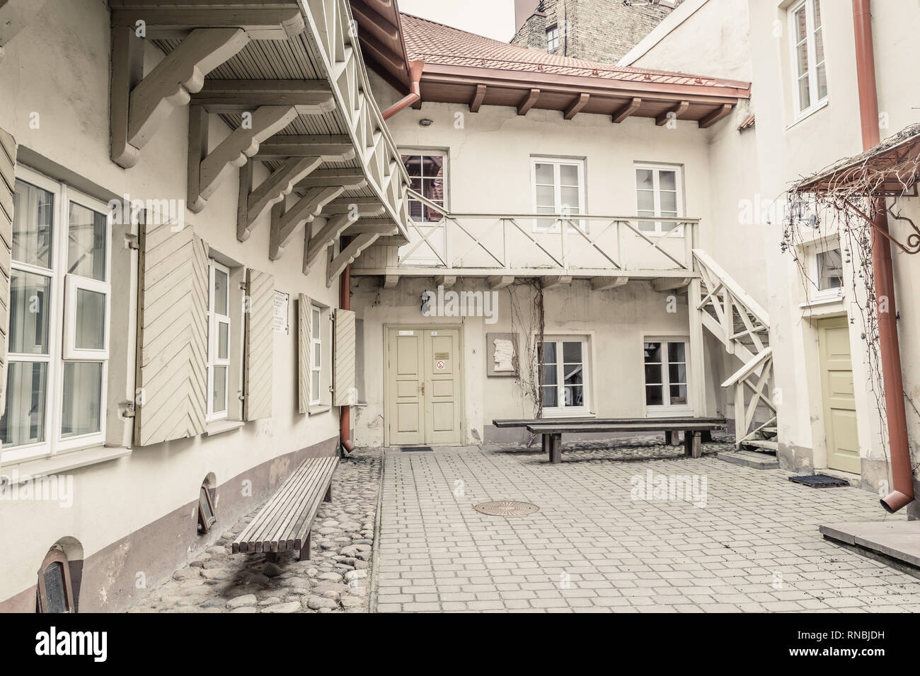Picturesque courtyard in the old town Vilnius, Lithuania Stock Photo