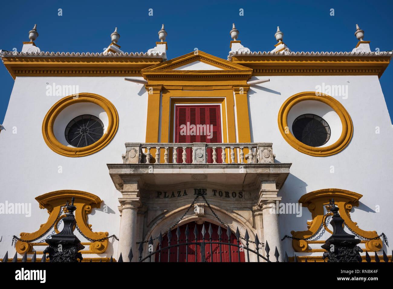 Plaza de toros de la Real Maestranza de Caballería de Sevilla, Seville, Spain. - Stock Image