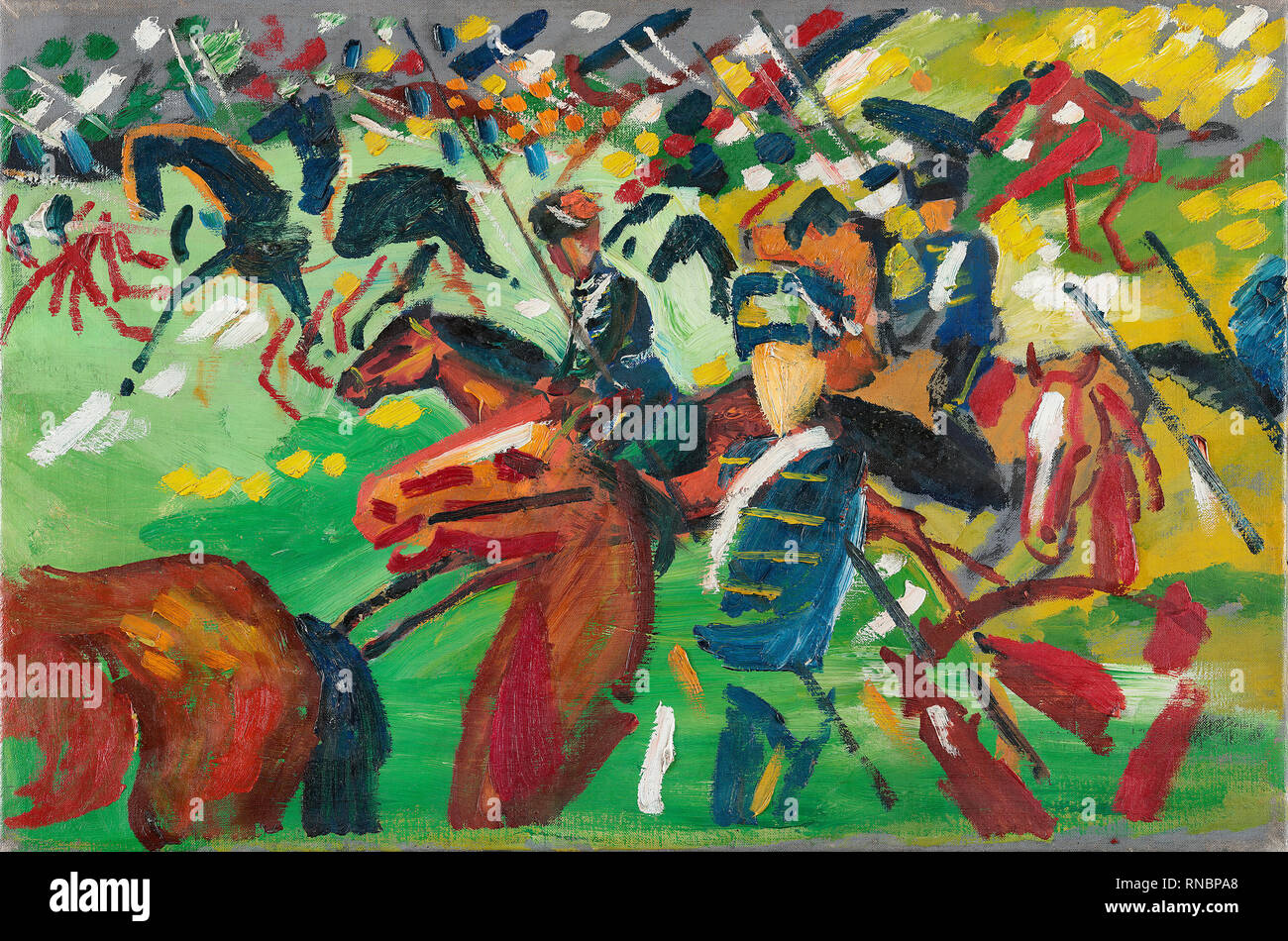 August Macke (Meschede, 1887-Perthes-les-Hurlus, 1914). Hussars on a Sortie (1913). Oil on canvas. 37.5 x 56.1 cm. Museum: Museo Nacional Thyssen-Bornemisza, Madrid. - Stock Image