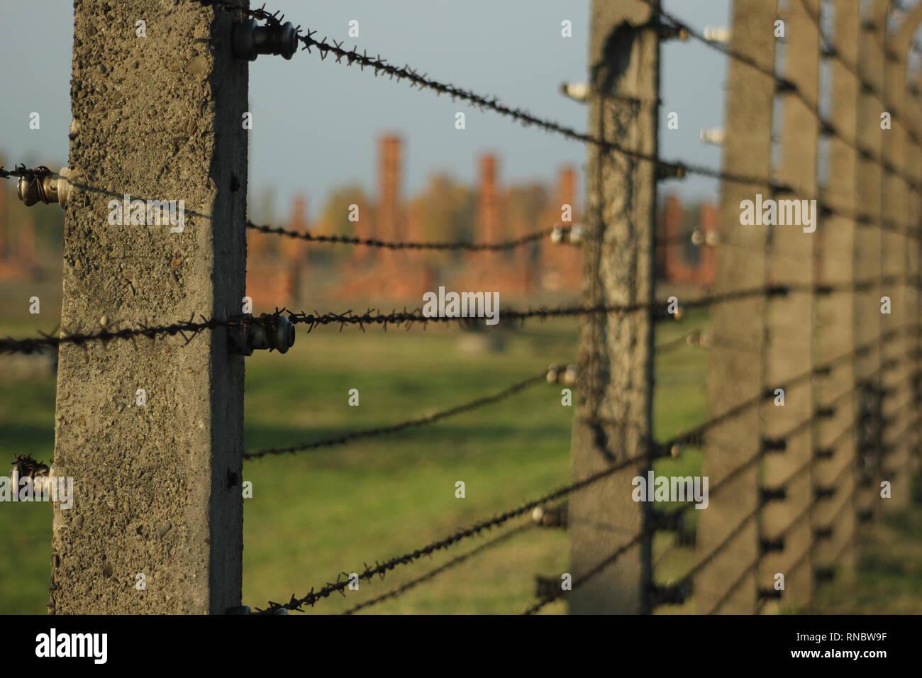 Birkenau Auschwitz Concentration Camp Wire fence - Stock Image