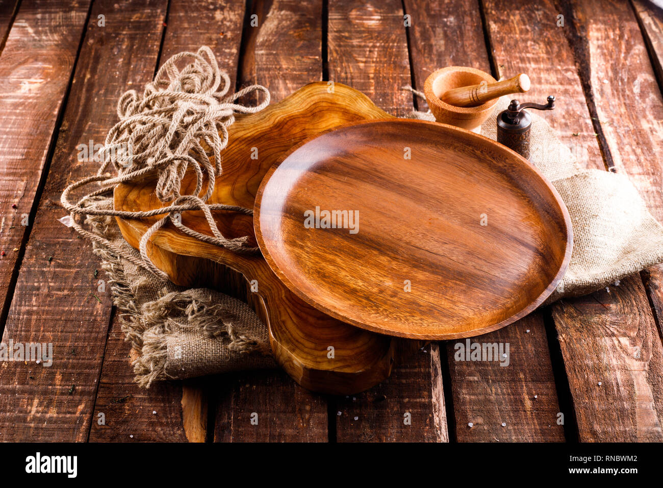 The Brown Wooden Plate On A Rustic Table Closeup Horizontal Top View Stock Photo Alamy