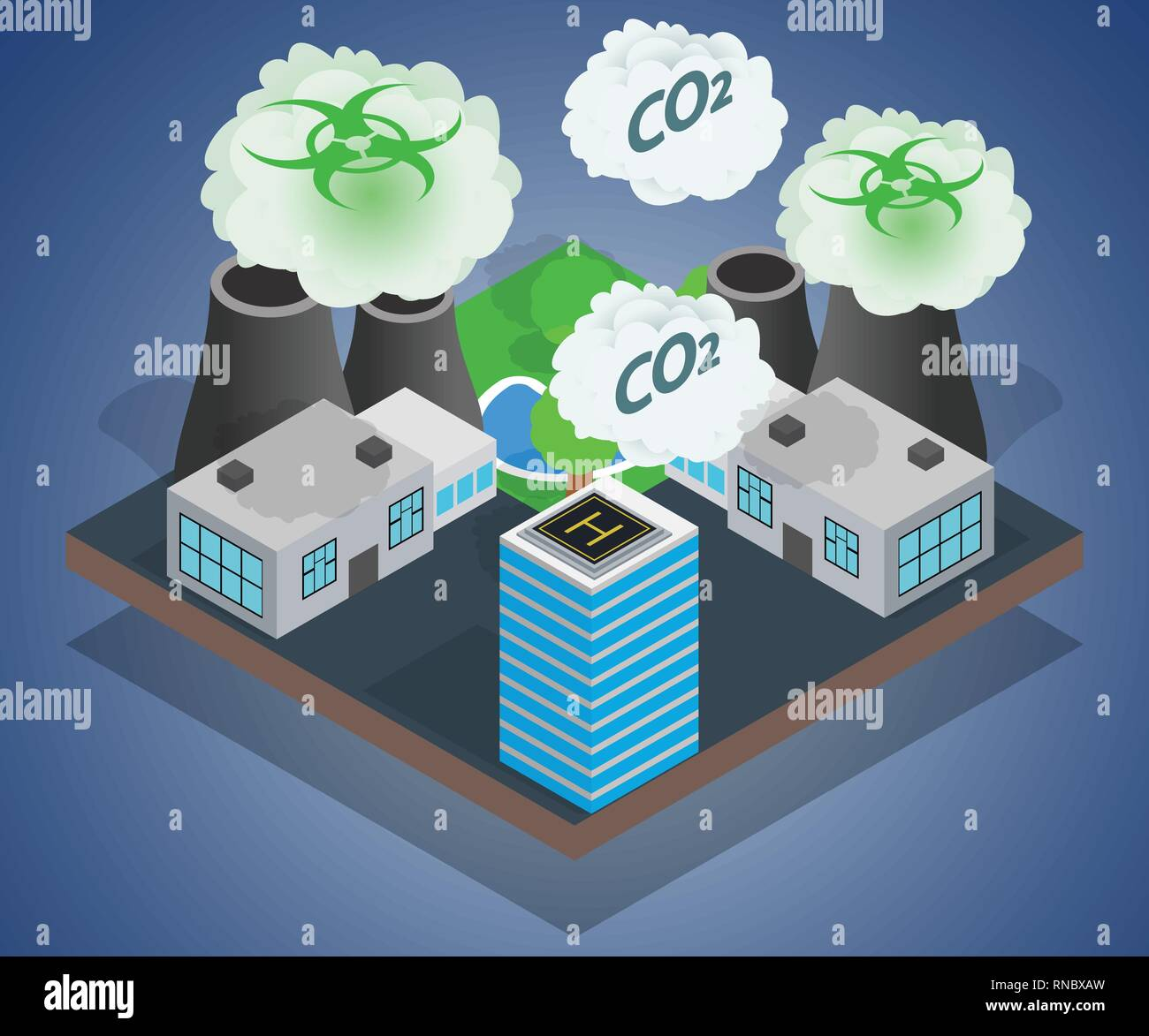 Pollution concept banner, isometric style - Stock Vector