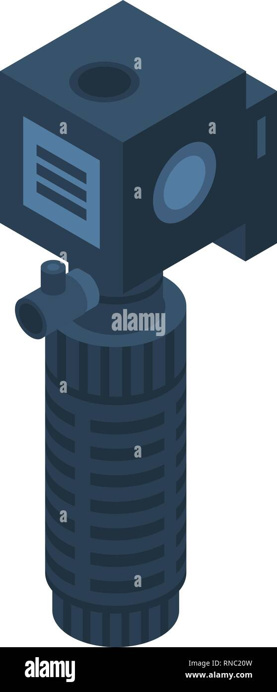 Aquarium water bubble pump icon, isometric style Stock Vector