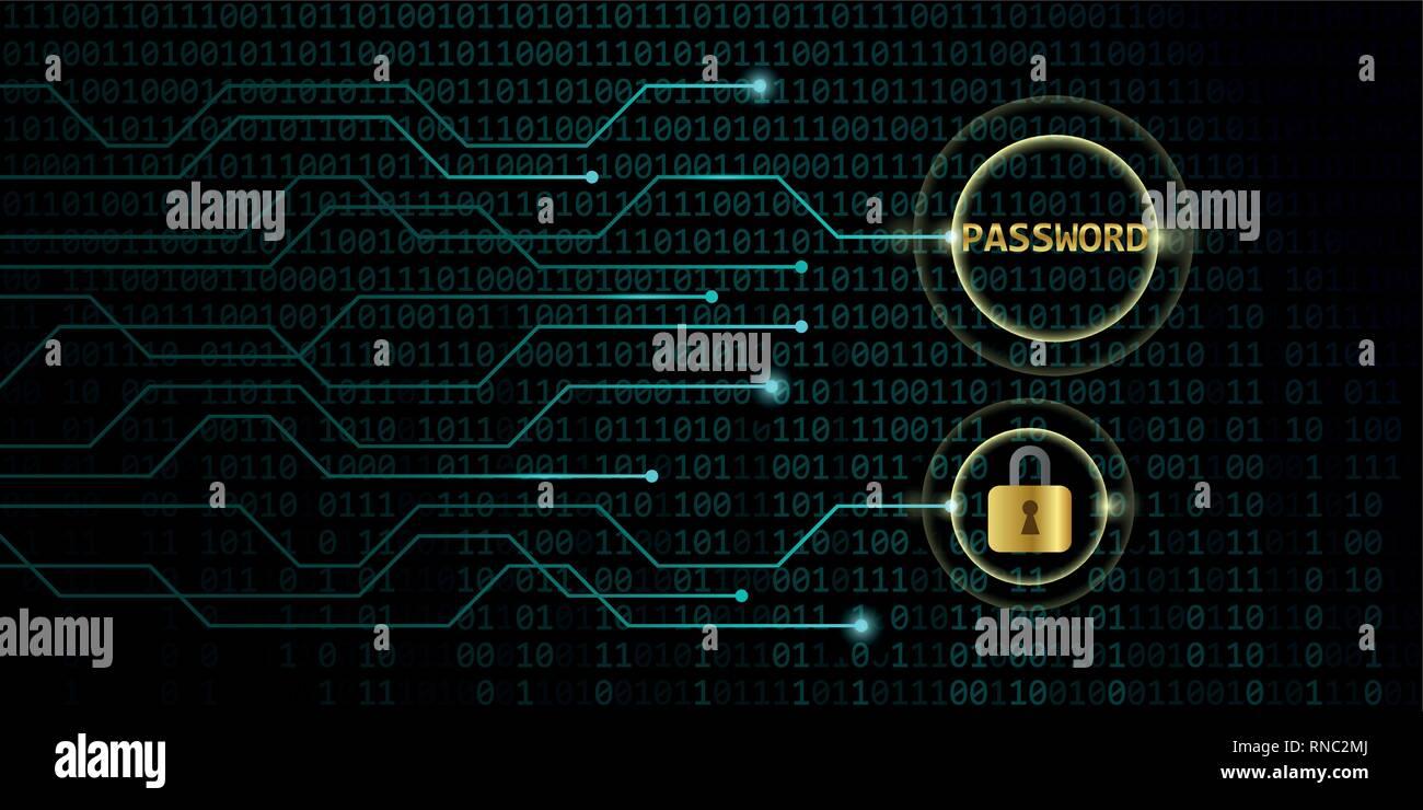safe digital online password with lock binary code background vector illustration EPS10 - Stock Vector